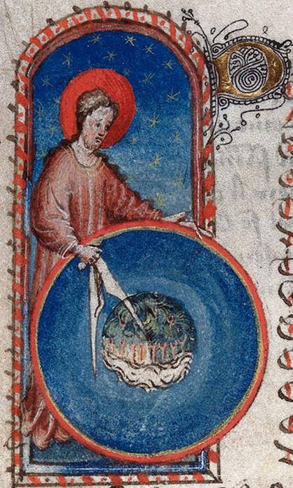 Миниатюра из манускрипта 15 века поэмы автора 13 века Госсуина из Метца  Образ Мира - Господь создает сферическую землю.