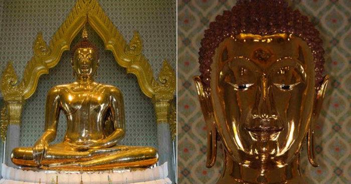 Золотая статуя внутри другой статуи.