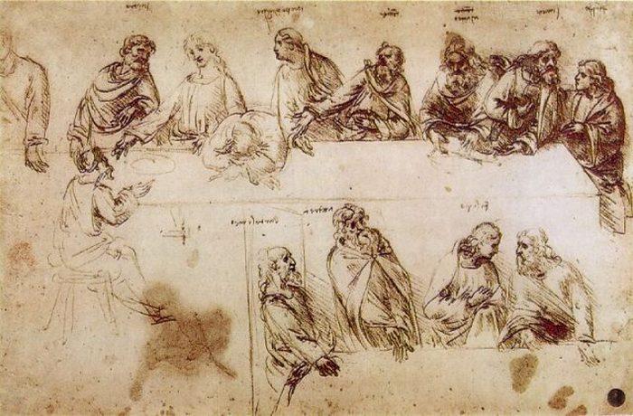 Исследование «Тайной вечери» из тетрадей Леонардо, где у девяти апостолов над головами написаны имена.