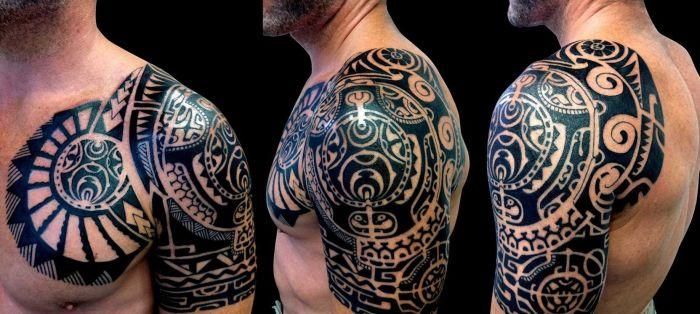 Полинезийские татуировки на руку.