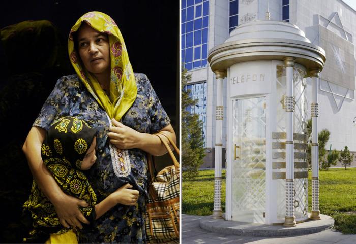 Туркменская женщина с ребёнком. & Телефонная будка, покрытая белым мрамором.