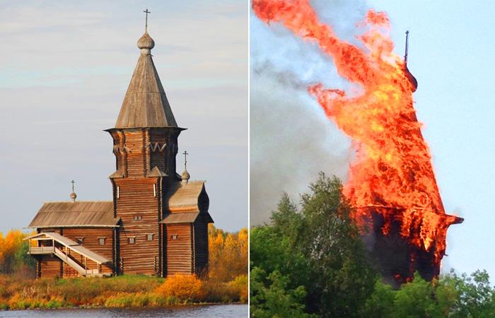 Как храм, переживший ливонцев, финнов и большевиков погиб в наши дни.