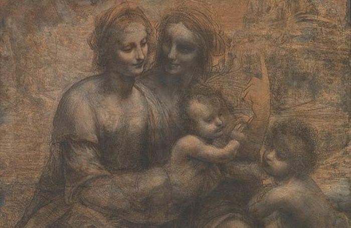 Богоматерь с младенцем, святой Анной и Иоанном Крестителем. Леонардо да Винчи.