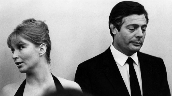 Актеры Марина Влади (Франция), Марчелло Мастрояни (Италия) на VI Московском международном кинофестивале. Москва. Июль, 1969 год.
