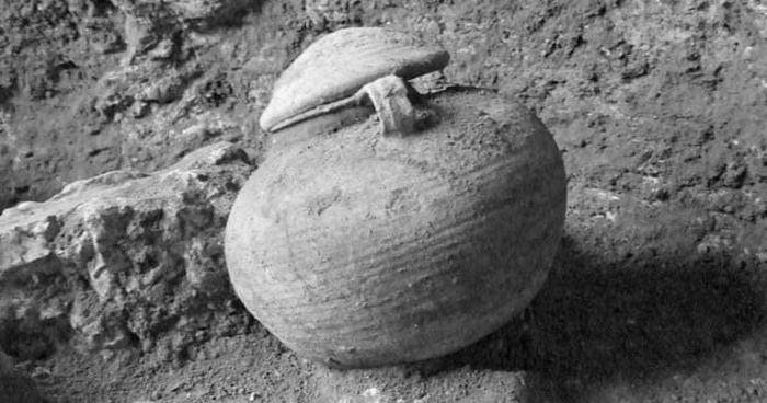 Горшок, в котором хранился прах солдат.