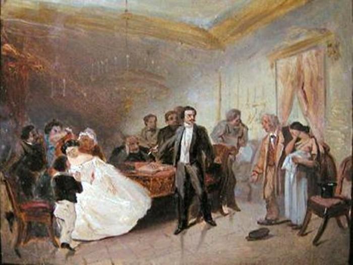 Эскиз картины «Прерванное обручение» Адриана Волкова.