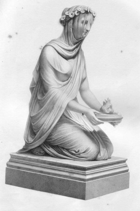 «Весталка в вуали», 1848 года. Сейчас находится в Чатсуорт-Хаус