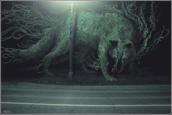 Настя Разбегаева. Лес с призраками. Волк.