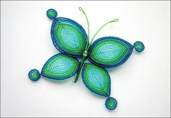 Алла Масленникова. Бабочка. Фигурка из бисера.