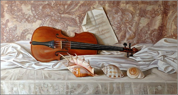 Вадим Правдохин. Натюрморт со скрипкой.