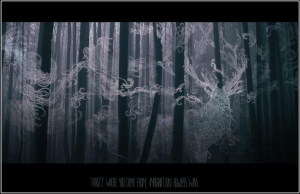 Настя Разбегаева. Лес с призраками. Олень.