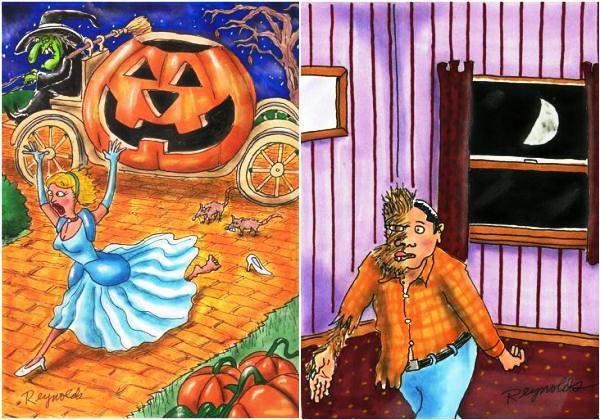 Золушка. Оборотень. Карикатуры на тему Хэллоуина