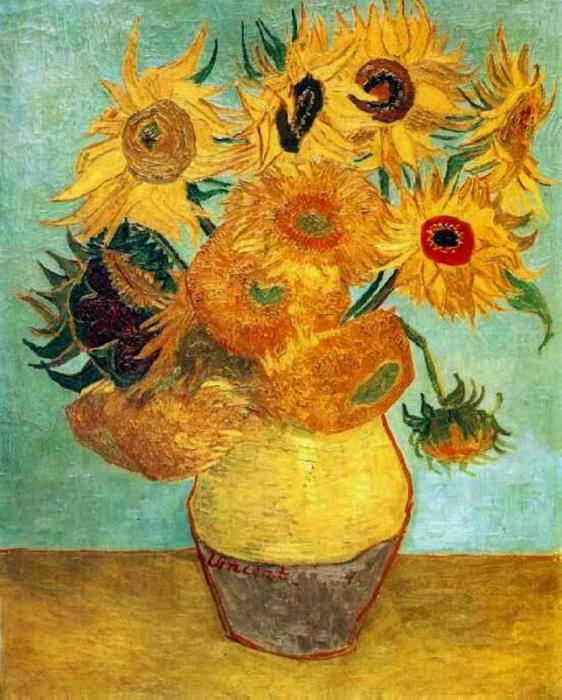 Vase with twelve sunflowers 2