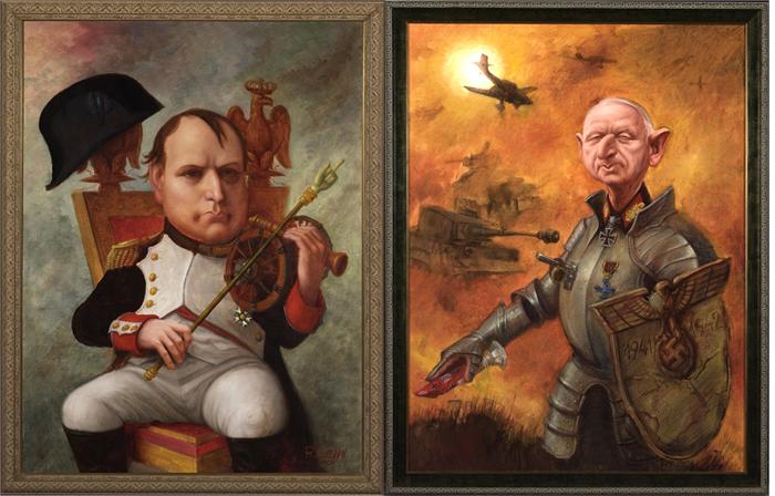 Политические шаржи: Наполеон Бонапарт, Эрих фон Манштейн