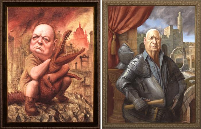 Политическая карикатура: Уинстон Черчилль, Ариэль Шарон