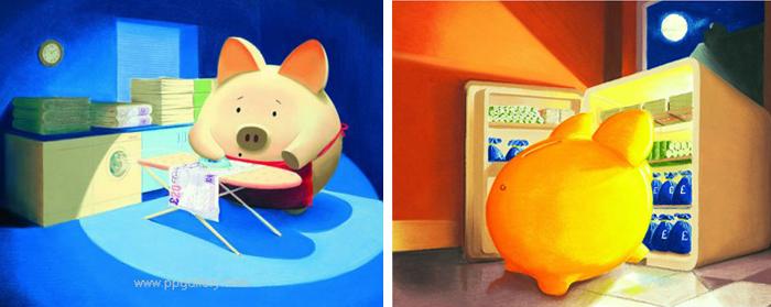 Будни свиньи-копилки на рисунке в Эй Джей Каллана)