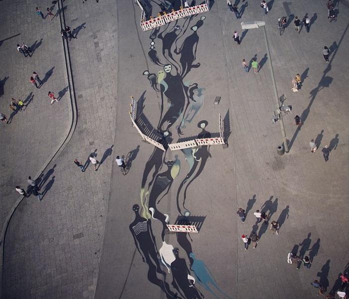Тени на улицах Франкфурта: неординарный стрит-арт от Герберта Баглионе