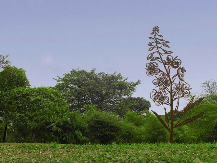 МДеревья из стали в сингапурском парке. Монументальные скульптуры Бена-Давида Задока