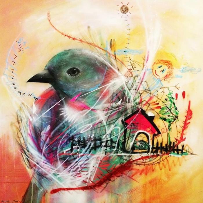 Рисунки птиц от уличного художника L7m