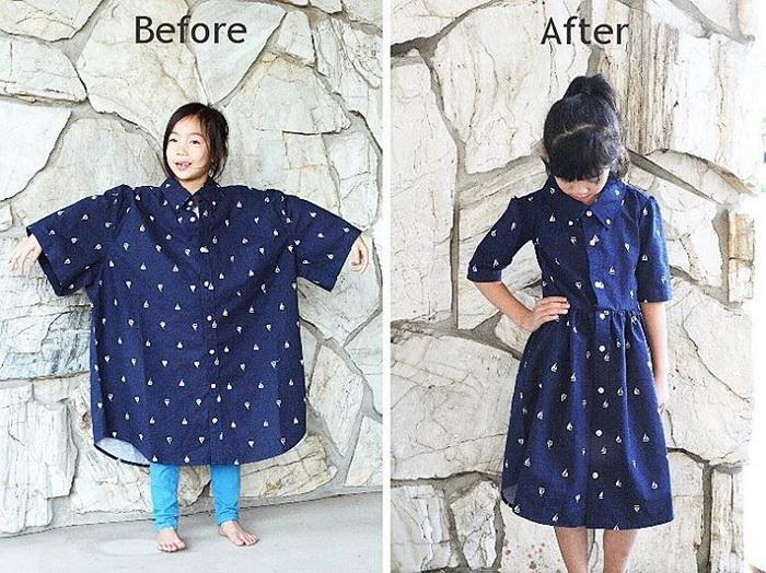 Безразмерная рубашка стала красивым детским платьем.