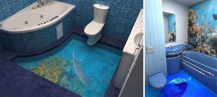 3D-пол - прекрасное решение для ванной комнаты