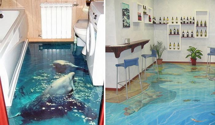 Морской 3D-пол подойдет как для ванной, так и для гостиной