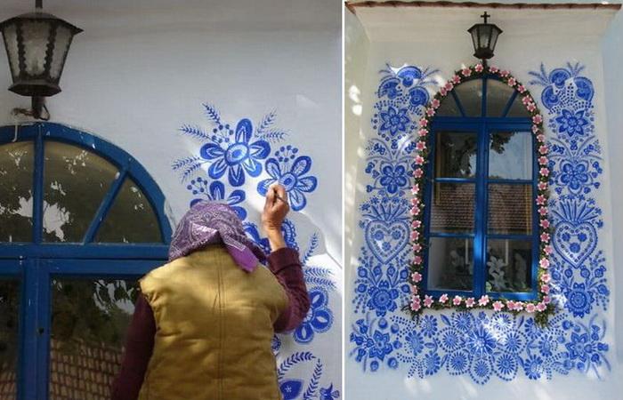 Агнешка Кашпаркова - художница, которая самостоятельно разрисовала дома в чешской деревне.