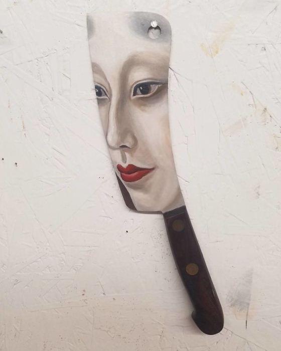 Портрет на кухонном ноже.