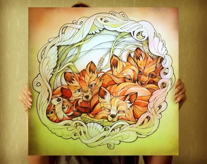 Очаровательные лисята на картинах Алисы Макаровой