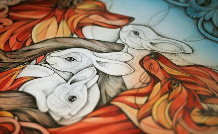 Лисы и зайцы на картине Алисы Макаровой