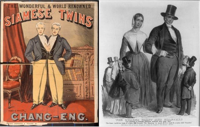 Сиамские близнецы Чанг и Энг и самая высокая пара в мире Анна и Мартин Бейтс