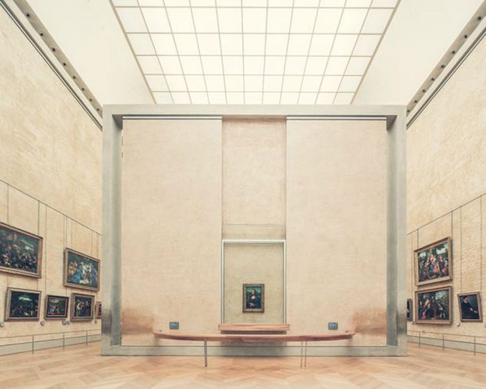 Мона Лиза в пустом зале Лувра