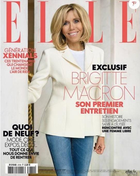 Брижит Макрон на обложке журнала Elle.