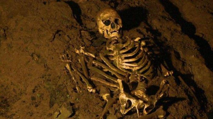 Копия сохранившегося до наших дней скелета человека из Чеддара.