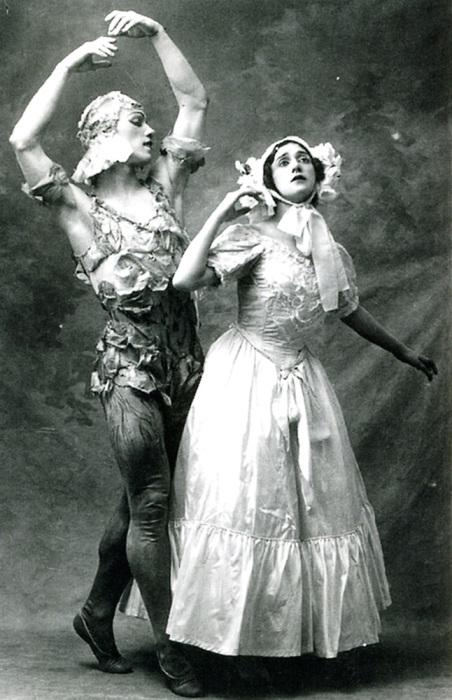 Вацлав Нижинский и Тамара Карсавина в балете М.Фокина «Видение розы», 1911 г
