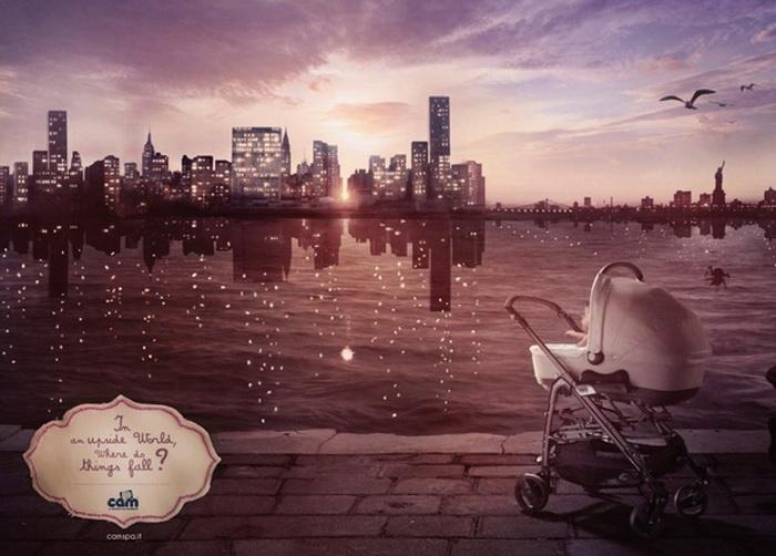 Реклама для любознательных деток: Куда падают вещи в перевернутом мире?