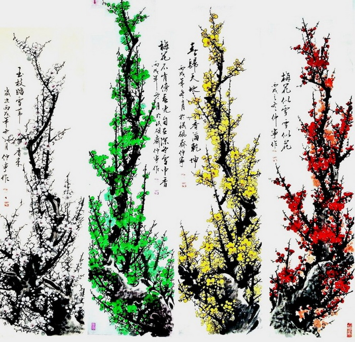 Цветы и иероглифы на картинах Chuan-Hong Li