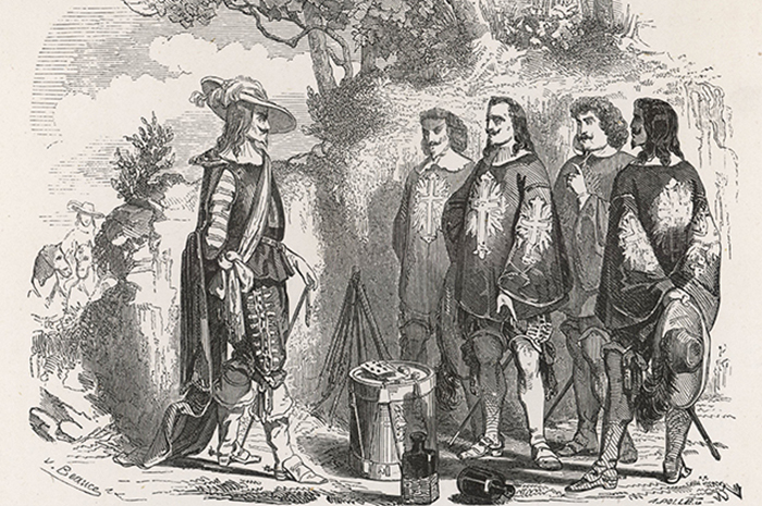 Мушкетёры и кардинал Ришелье. Иллюстрация из книги. Фото: globallookpress.com