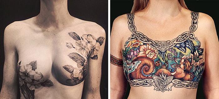 Татуировки, помогающие скрыть рубцы после операций на молочной железе