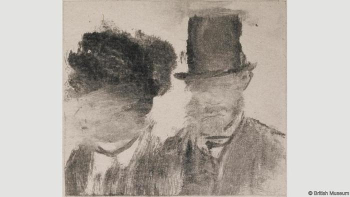 Головы мужчины и женщины. Эдгар Дега. 1877-80