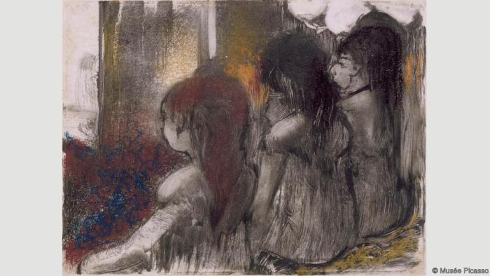Три женщины в борделе. Вид сзади. Эдгар Дега. 1877-79