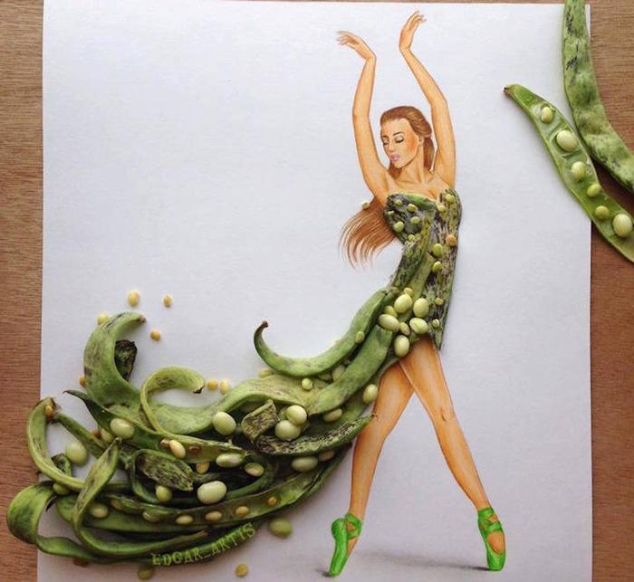 Платье из стручков фасоли: фантазия от иллюстратора Edgar Arti