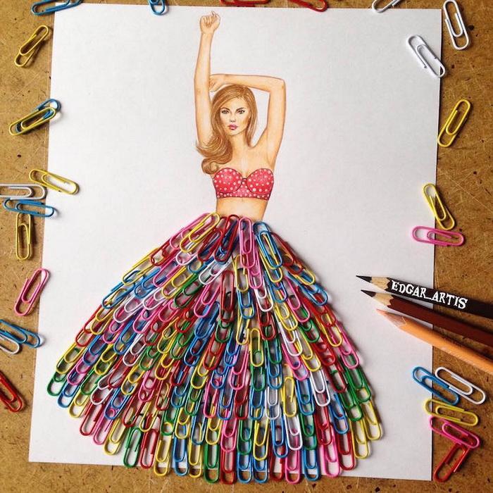 Красочная юбка из канцелярских скрепок
