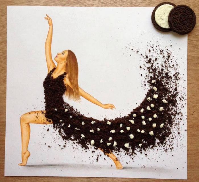 Сладкое платье из шоколадной крошки