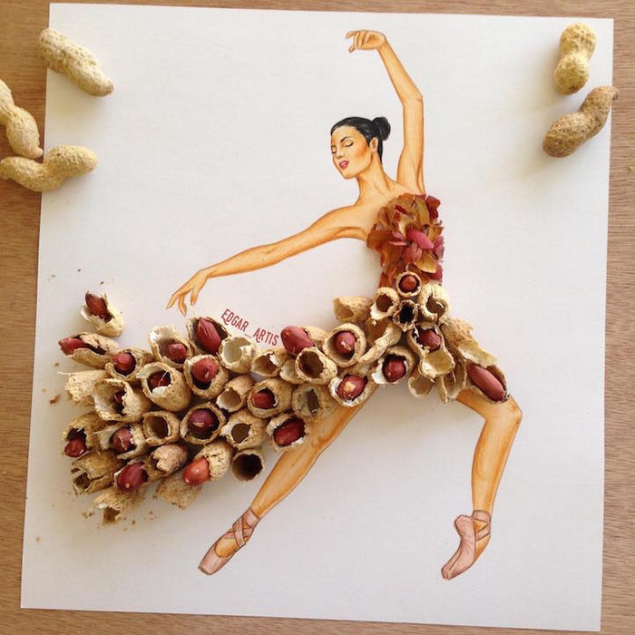 Страстный танец в платье из арахисовых зерен