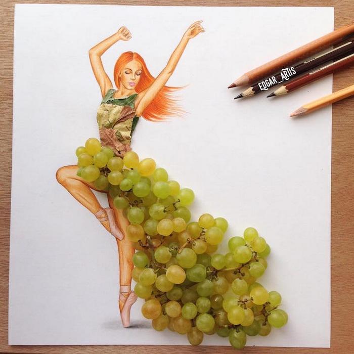 Шлейф из грозди винограда