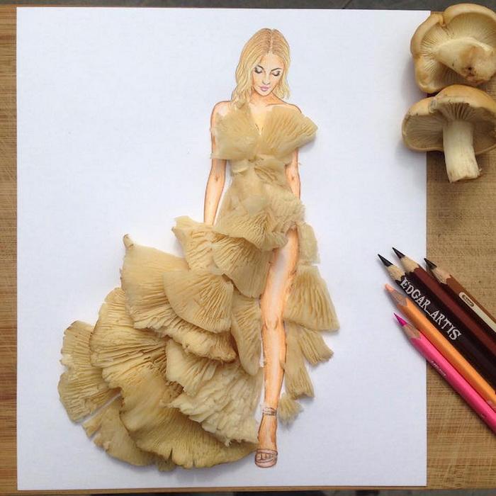 Нежное платье из... грибных шляпок