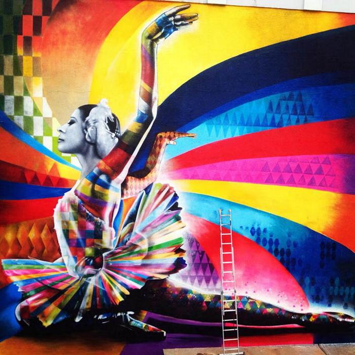 Портрет Майи Плисецкой в Москве от Эдуардо Кобры (Eduardo Kobra)
