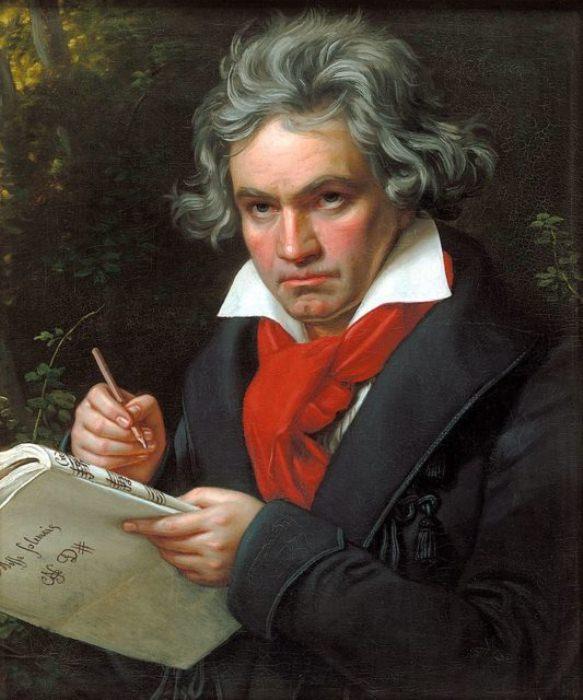 Портрет Людвига ван Бетховена, написанный в 1820 году.