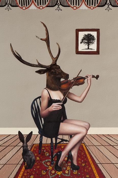 Девушка с головой оленя. Рисунки в стиле пин-ап от Эмили Бернс (Emily Burns)
